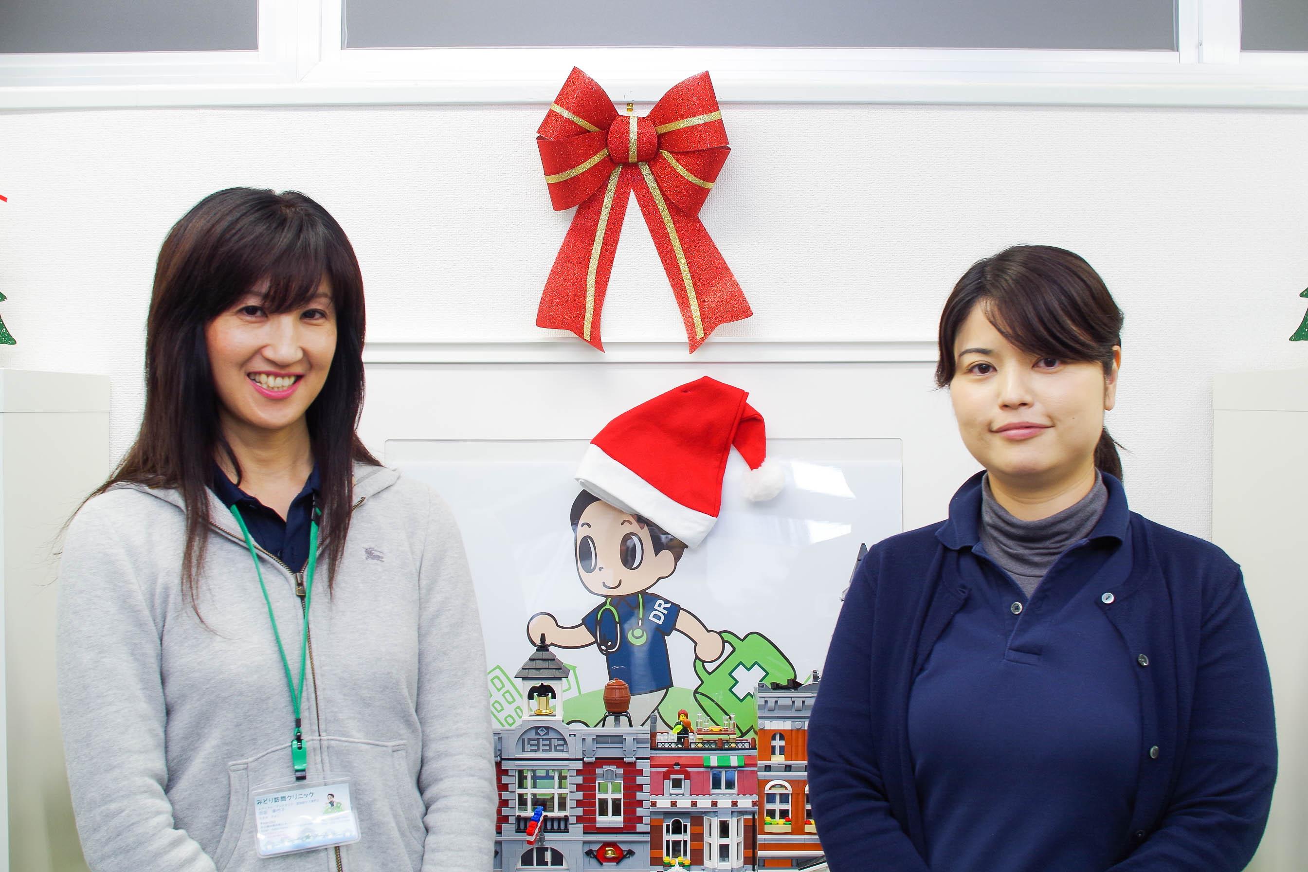 みどり訪問クリニック みどり研修センター メディカルアシスタントの田坂さん(左)と総務リーダーの波村さん(右)