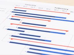 作業内容を担当者ごとに分け、時系列で整理する