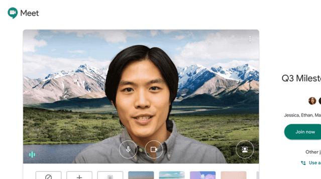 グーグルミートに参加する男性の画像
